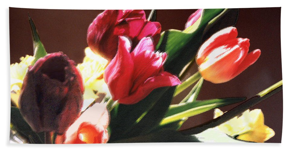 Floral Still Life Bath Sheet featuring the photograph Spring Bouquet by Steve Karol