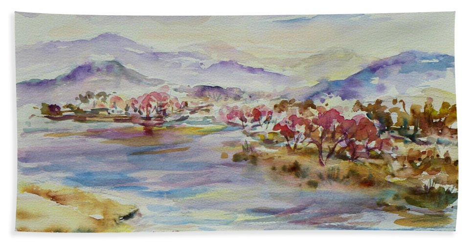 Watercolour Bath Sheet featuring the painting Spring Breeze by Xueling Zou