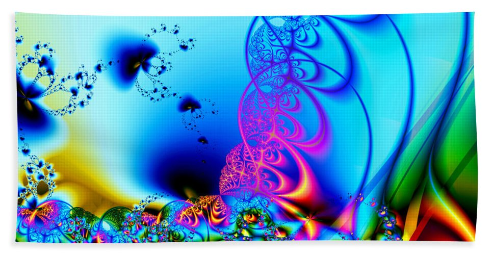 Fractal Hand Towel featuring the digital art Spring Breezes by Claire Bull