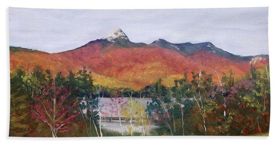 Mt. Chocorua Bath Towel featuring the painting Spring Burst at Chocorua by Sharon E Allen
