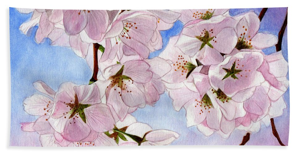 Cherry Blossom Hand Towel featuring the painting Spring- Cherry Blossom by Swati Singh