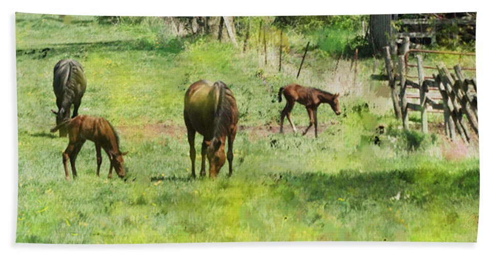 Spring Colts Hand Towel featuring the digital art Spring Colts by John Beck