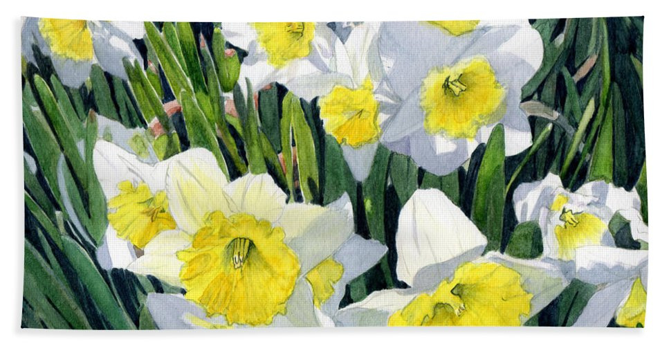 Daffodils Hand Towel featuring the painting Spring- Daffodils by Swati Singh