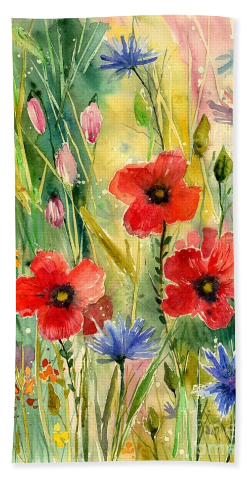 Red Hand Towel featuring the painting Spring Field by Suzann Sines