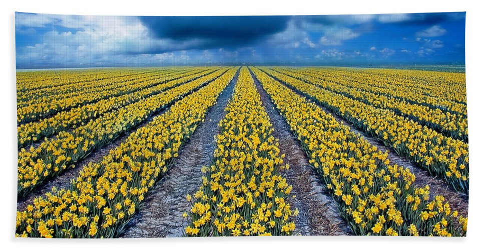 Flowers Bath Towel featuring the photograph Spring Fields by Jacky Gerritsen
