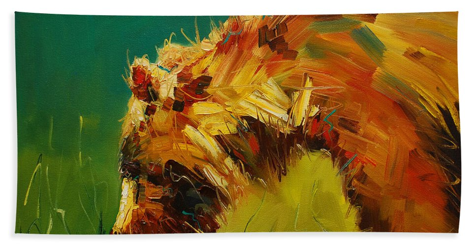 Bear Bath Sheet featuring the painting Spring Flower Bear by Diane Whitehead