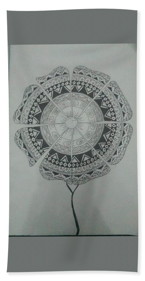 Mandela Art Bath Sheet featuring the painting Spring Flower by Sarah Hemidy