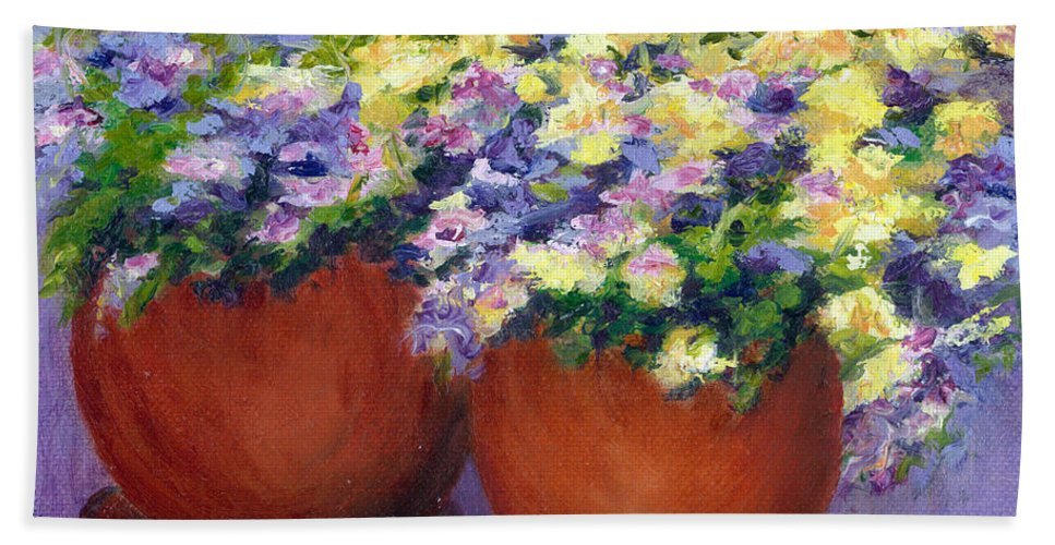 Flowers Hand Towel featuring the painting Spring Flowers by Paula Emery
