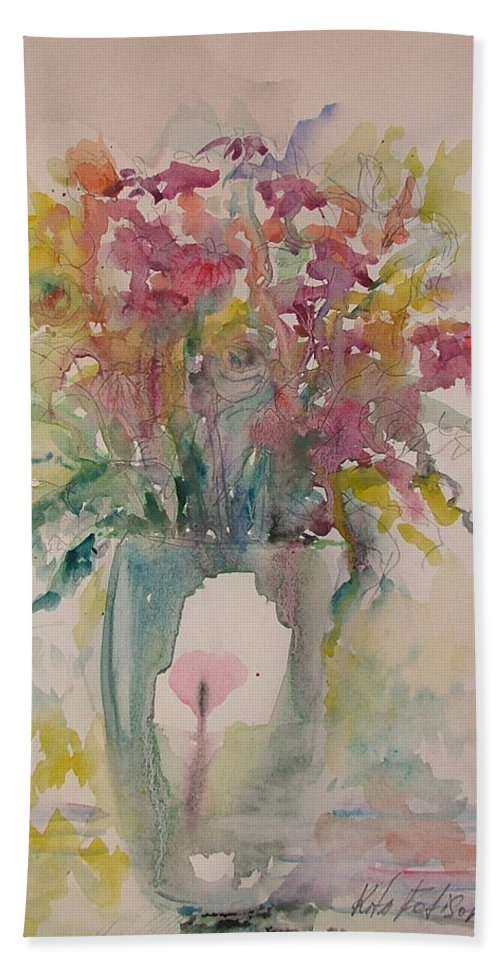 Still Life Bath Towel featuring the painting Spring Flowers by Rita Fetisov