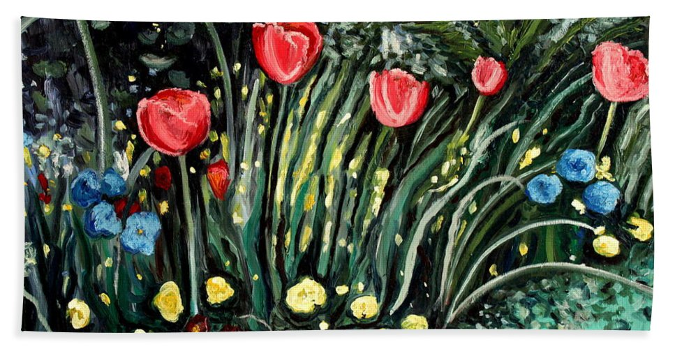 Impressionistic Bath Sheet featuring the painting Spring Garden by Elizabeth Robinette Tyndall