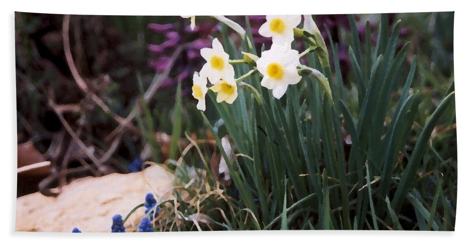 Flowers Bath Towel featuring the photograph Spring Garden by Steve Karol