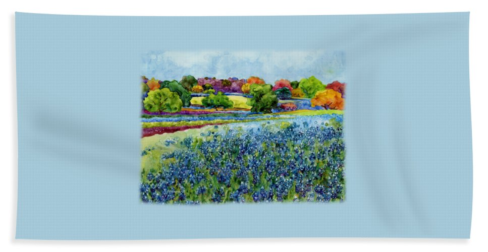 Bluebonnet Bath Towel featuring the painting Spring Impressions by Hailey E Herrera