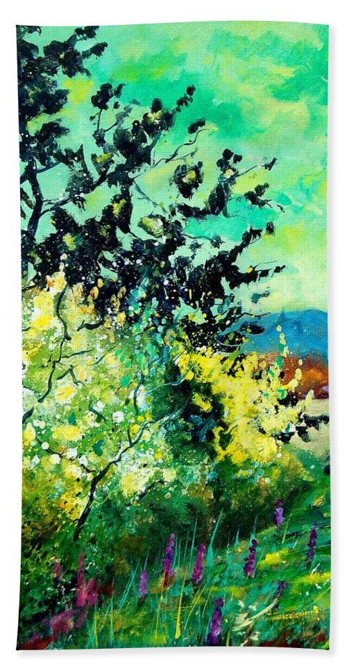 Spring Hand Towel featuring the painting spring in Ciergnon by Pol Ledent