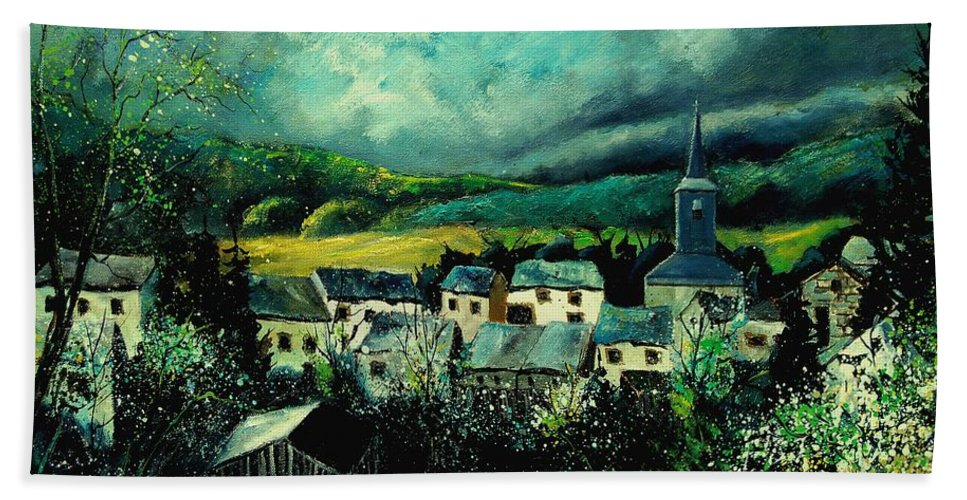 Tree Hand Towel featuring the painting Spring In Daverdisse by Pol Ledent