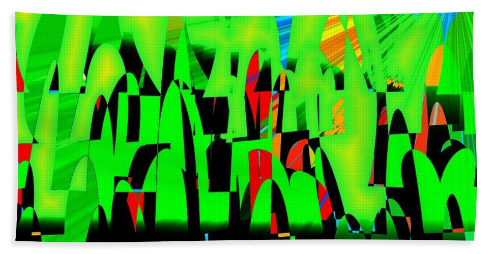 Spring.forest Bath Sheet featuring the digital art Spring In Digital Forest by Helmut Rottler