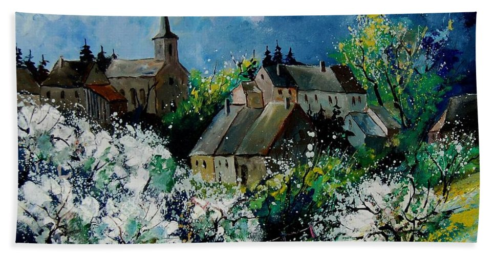 Spring Hand Towel featuring the painting Spring In Fays Famenne by Pol Ledent