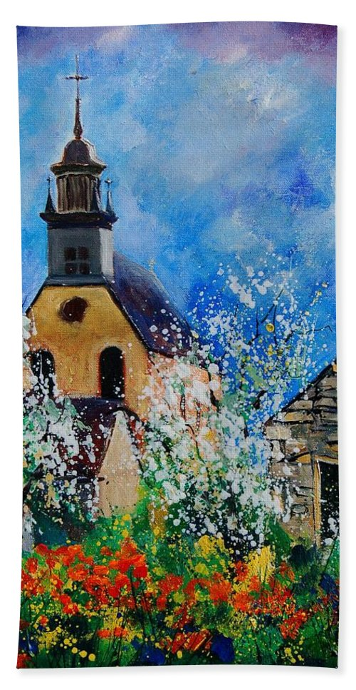 Spring Hand Towel featuring the painting Spring In Foy Notre Dame Dinant by Pol Ledent