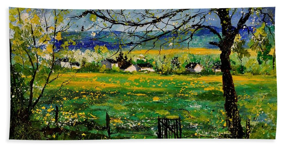 Landscape Hand Towel featuring the painting Spring In Herock by Pol Ledent