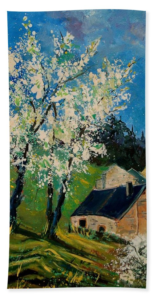 Spring Hand Towel featuring the painting Spring In Hierges by Pol Ledent