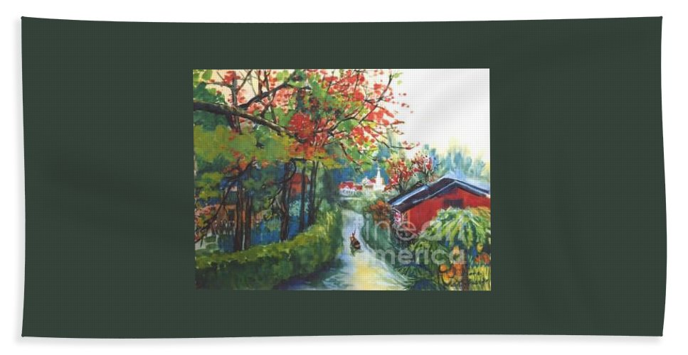 Spring Hand Towel featuring the painting Spring In Southern China by Guanyu Shi