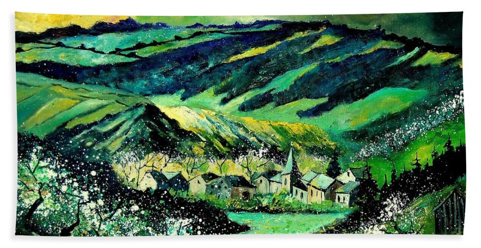 Landscape Hand Towel featuring the painting Spring In Tha Ardennes by Pol Ledent