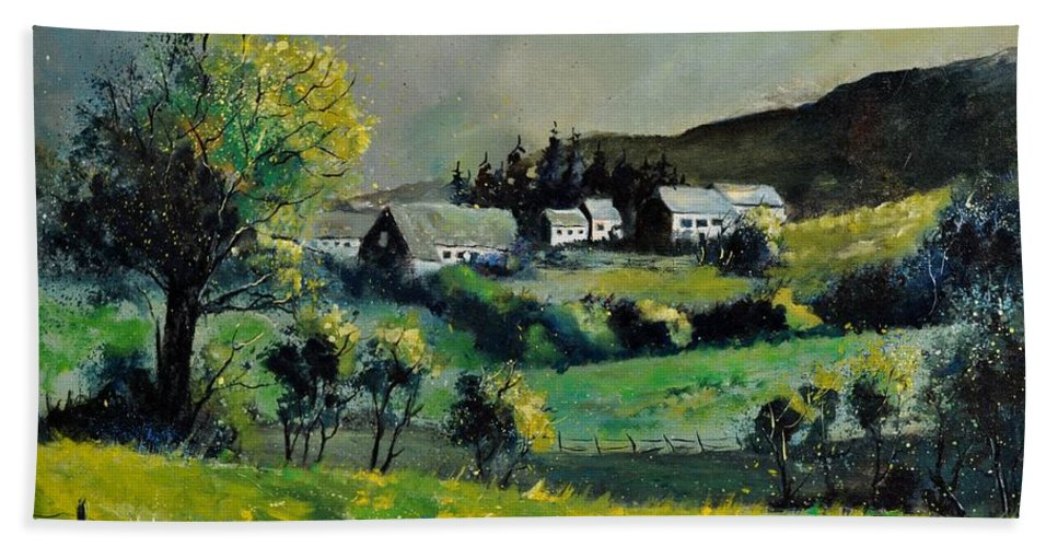 Landscape Hand Towel featuring the painting Spring In Voneche by Pol Ledent