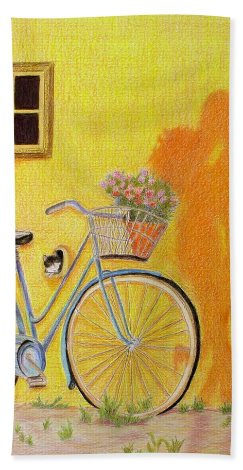 Bicycle Bath Sheet featuring the drawing Spring Is In The Air by Kathy Crockett