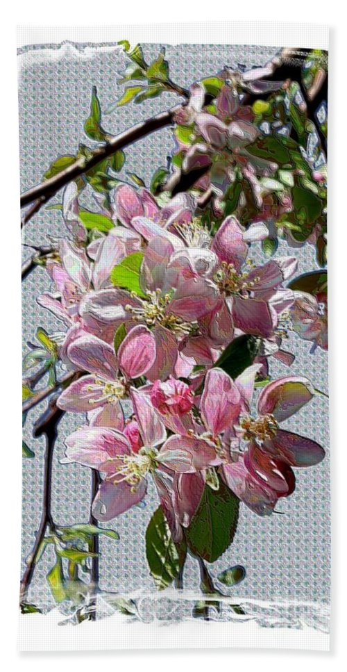 Spring Blossoms Hand Towel featuring the digital art Spring Is Melting Away by Carol Groenen