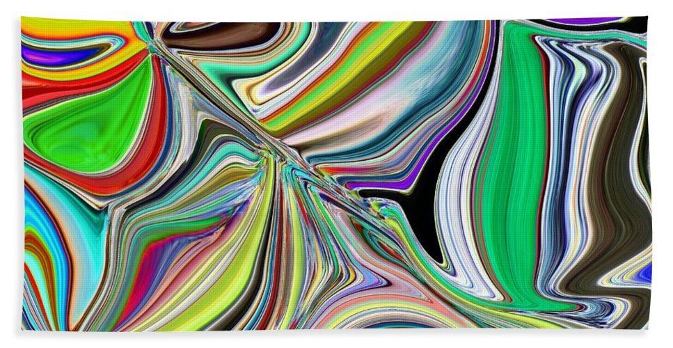 Abstract Bath Sheet featuring the digital art Spring Kaleidoscope by Tim Allen