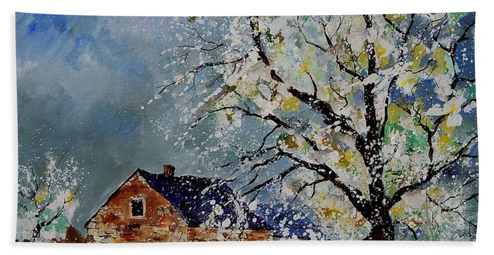 Spring Hand Towel featuring the painting Spring Landscape by Pol Ledent
