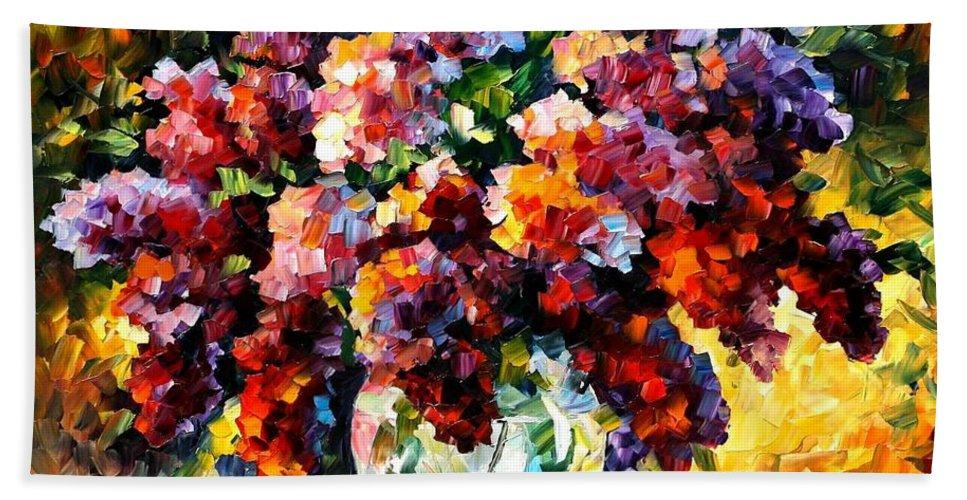 Afremov Bath Sheet featuring the painting Spring Lilac by Leonid Afremov