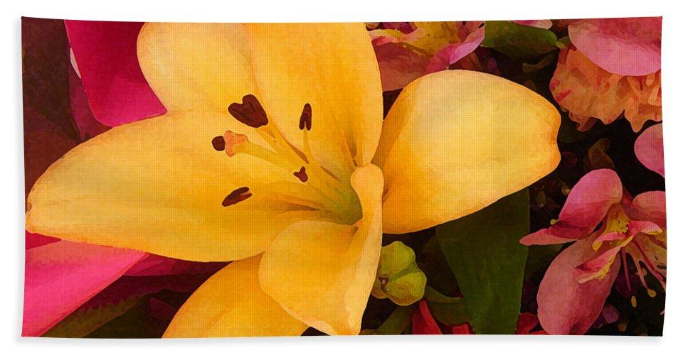 Lily Bath Sheet featuring the painting Spring Lily Bouquet by Amy Vangsgard