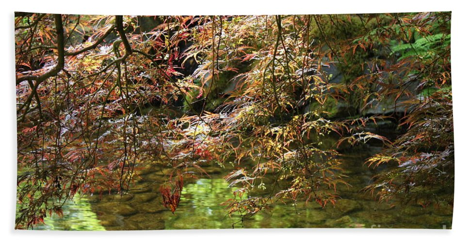 Japanese Garden Bath Sheet featuring the photograph Spring Maple Leaves Over Japanese Garden Pond by Carol Groenen