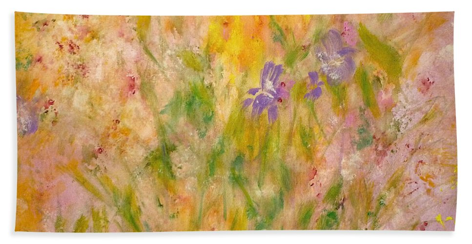 Spring Meadow Hand Towel featuring the painting Spring Meadow by Claire Bull