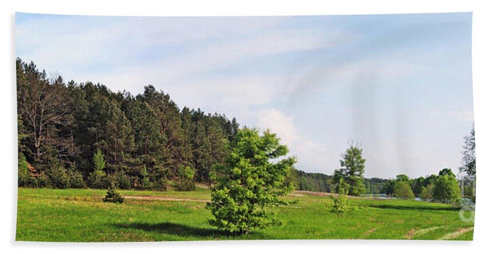 Landscape Bath Sheet featuring the photograph Spring Meadow by Vadzim Kandratsenkau