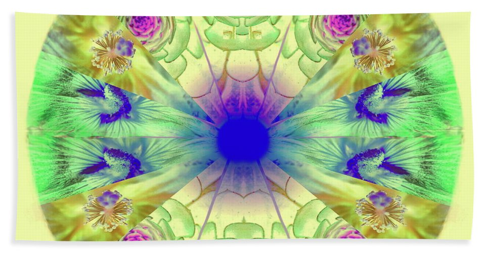 Digital Mandala Hand Towel featuring the photograph Spring Meditation by Ellen Berrahmoun