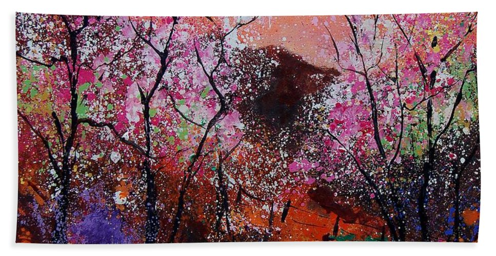 Spring Bath Towel featuring the painting Spring Near My Home by Pol Ledent
