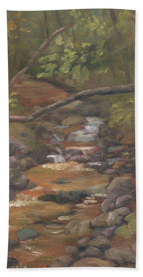 Waterfall Bath Towel featuring the painting Spring on the Gale River by Sharon E Allen