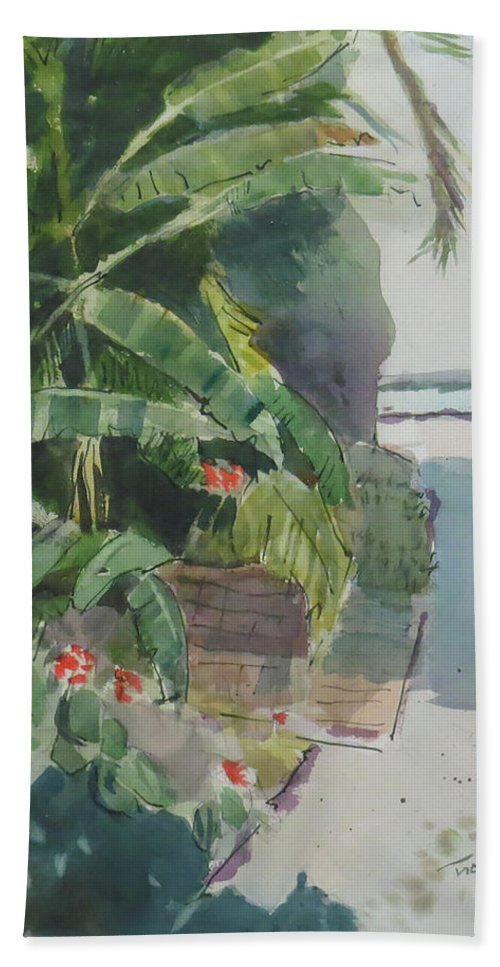 Green Bath Sheet featuring the painting Spring Palms by Thomas Tribby