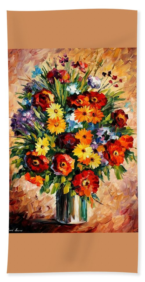 Afremov Hand Towel featuring the painting Spring Passion by Leonid Afremov