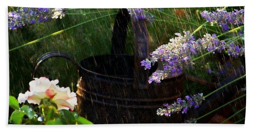 Spring Rain Bath Sheet featuring the photograph Spring Rain by Marika Evanson