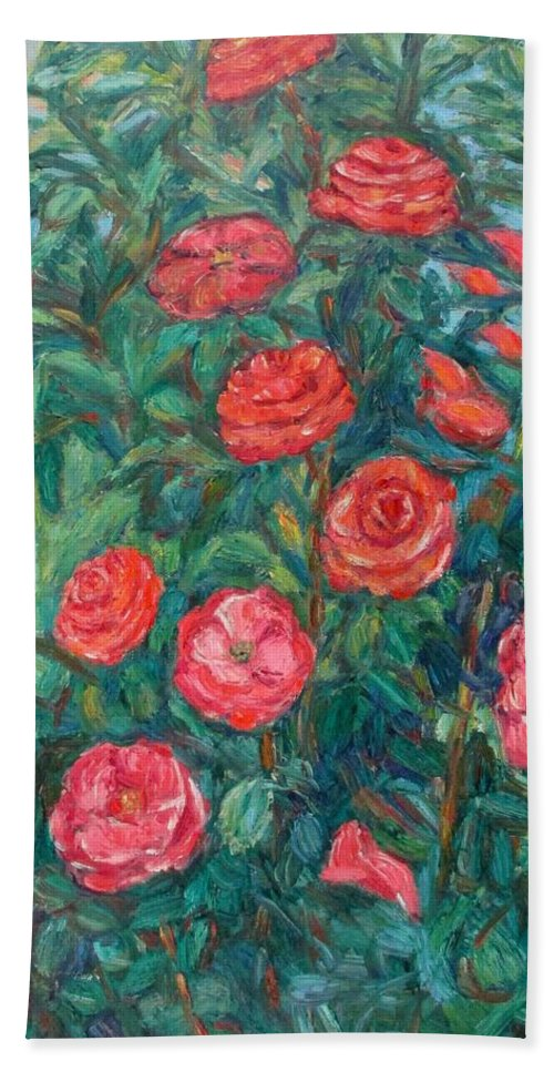 Rose Hand Towel featuring the painting Spring Roses by Kendall Kessler