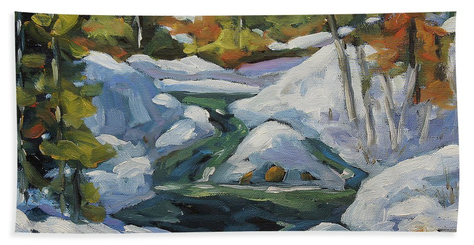Landscape Scene Bath Towel featuring the painting Spring Run Off by Richard T Pranke