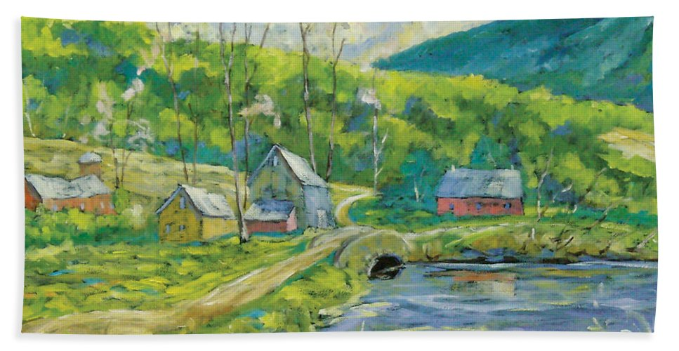 Landscape Bath Towel featuring the painting Spring Scene by Richard T Pranke