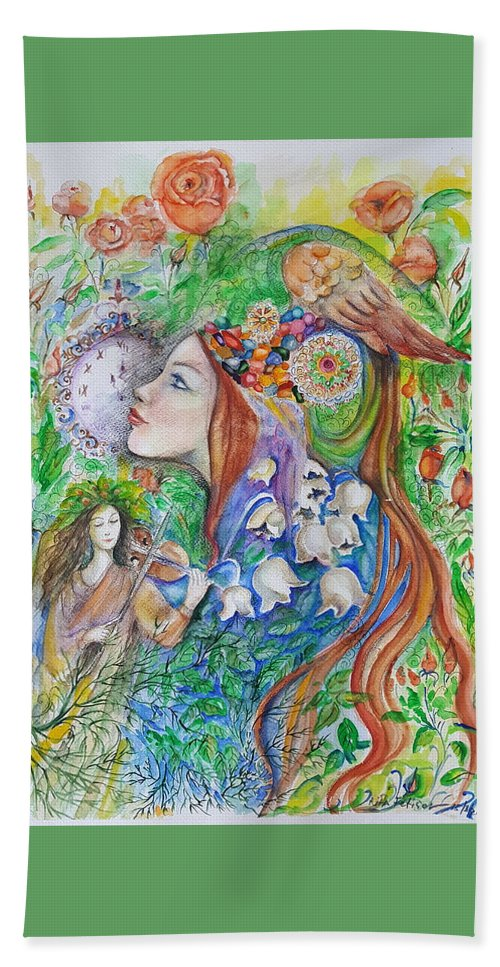 Lilies Of The Valley Bath Sheet featuring the mixed media Spring Song by Rita Fetisov