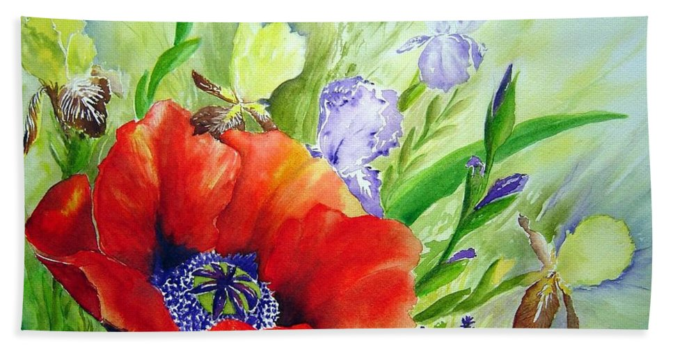 Poppy Iris Floral Painting Bath Towel featuring the painting Spring Splendor by Joanne Smoley