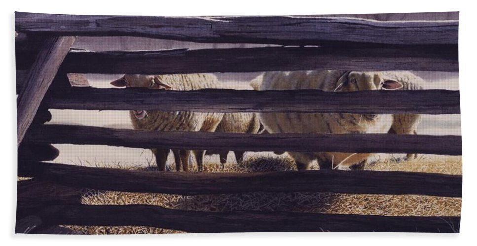 Sheep Hand Towel featuring the painting Spring Thaw by Denny Bond