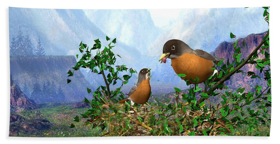 Spring Time Robins Bird Hand Towel featuring the digital art Spring Time Robins by John Junek