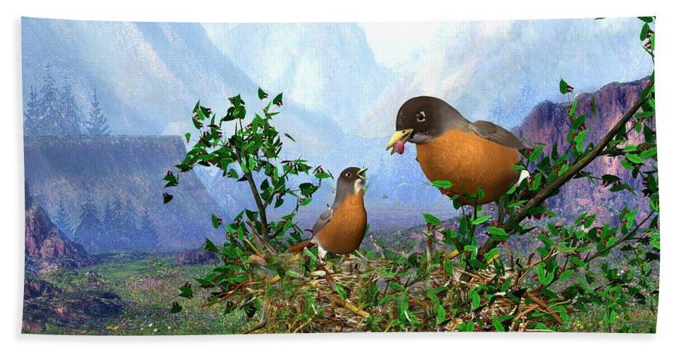 Spring Time Robins Bird Bath Towel featuring the digital art Spring Time Robins by John Junek