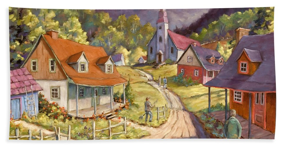 Art Bath Sheet featuring the painting Spring Time Sun by Richard T Pranke